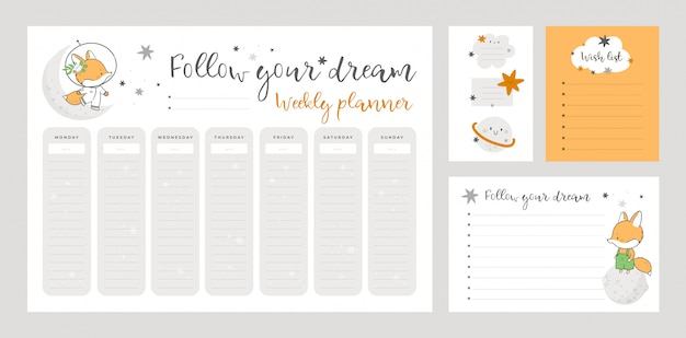 Wish list template, sticker book, weekly planner page with little fox in cartoon style