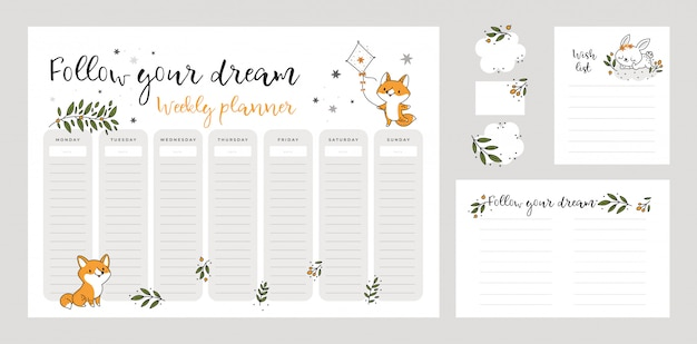 Wish list template, weekly planner page with cute baby fox and bunny animals in doodle cartoon style