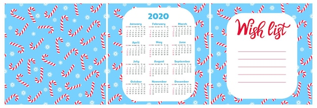 Wish list. wall calendar for 2020. snowflake and lollypop seamless pattern. christmas background