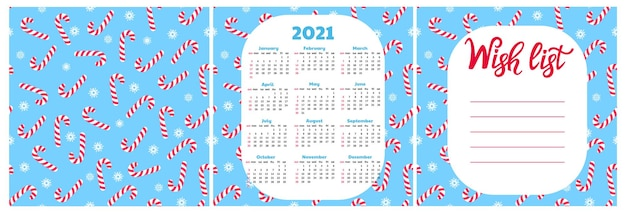 ウィッシュリスト。 2021年の壁掛けカレンダー。スノーフレークとロリーポップのシームレスなパターン。クリスマスの背景