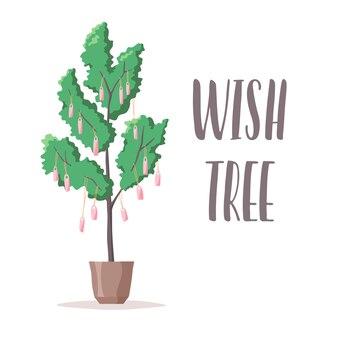願いの木のイラストと願いのメモとラベルが木に掛かっているレタリング