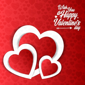 Wish you a Happy Valentines day with red pattern