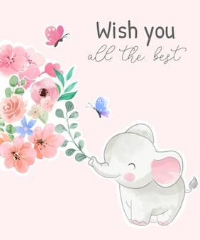 ピンクの背景に象と色とりどりの花であなたにすべての最高のスローガンを望みます