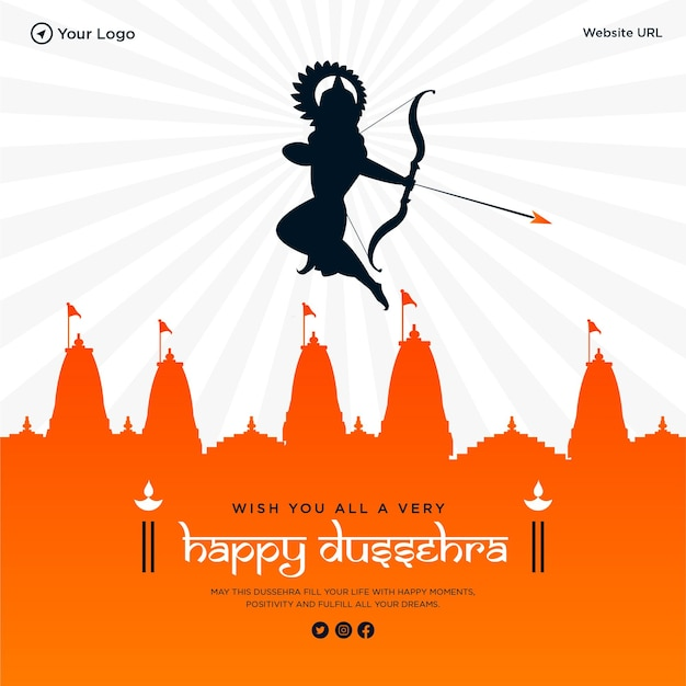 Wish you all a very happy dussehra banner design template