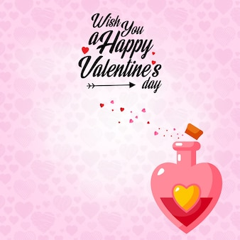 Wish you a happy valentine's day with pink pattern background