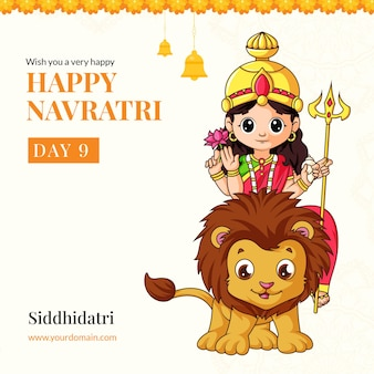 Wish you a very happy navratri festival with goddess siddhidatri illustration banner template