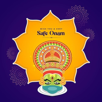 Wish you a very safe onam festival banner design template