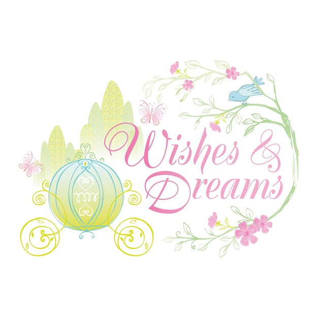 Wishes and dreams badge illustration with princess carriage and fairytale design