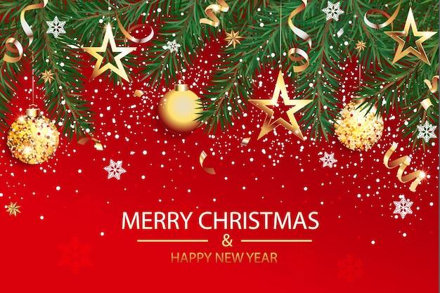 クリスマスと新年あけましておめでとうございますの願いカード