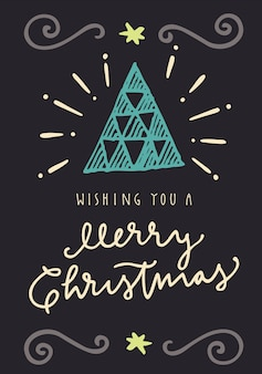 Wishing You A Merry Christmas. Vintage hand drawn greeting card. Flat design illustration