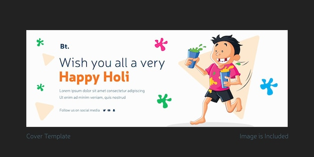 Wishing you all a very happy holi facebook cover design
