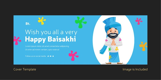 Wishing you all a very happy holi facebook cover page template