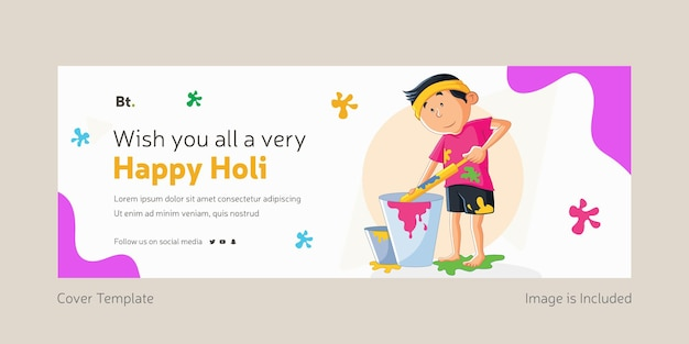 Wishing you all a very happy holi facebook cover page with boy
