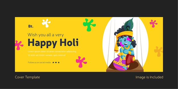Wishing you all a very happy holi facebook cover page with lord krishna sitting on the swing