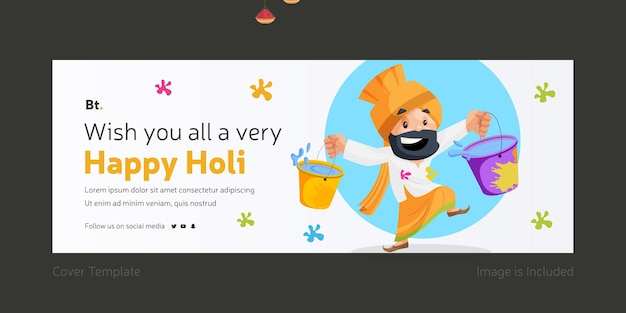 Wishing you all a very happy holi facebook cover page