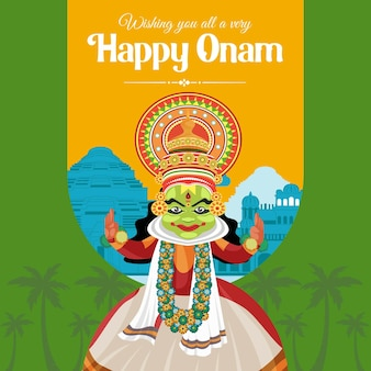 Wishing you all a very happy onam festival banner design template