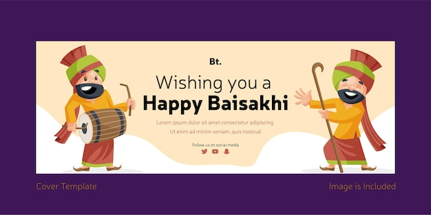 Wishing you a happy baisakhi facebook cover design