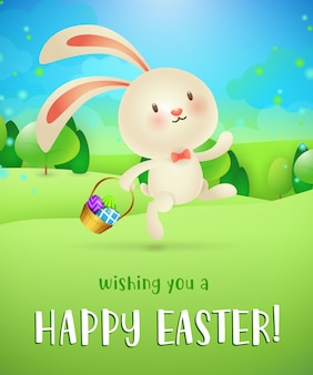 Wishing you happy easter lettering, bunny with eggs in basket