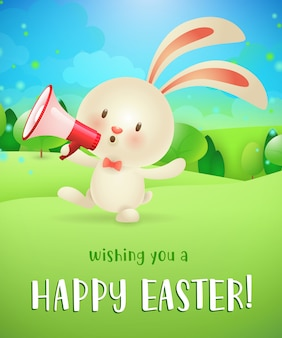 Wishing you happy easter lettering, bunny with megaphone
