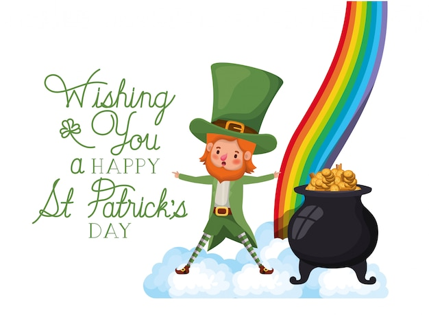 Wishing you a happy st patrick`s day label with leprechaun