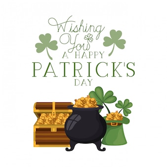 Wishing you a happy st patrick`s day label