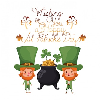 Wishing you a happy st patricks day label with leprechauns character