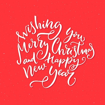Wishing you merry christmas and happy new year text vector calligraphy concept for greeting cards