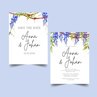 Wisteria flower blue wedding invitation template