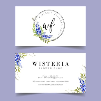 Wisteria flower logo business card template