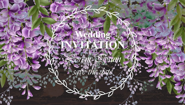 Wisteria flowers wedding invitation card