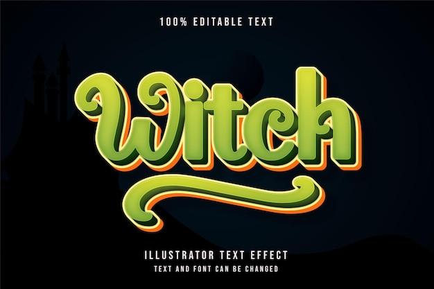 魔女、3d編集可能なテキスト効果緑のグラデーション黄色のテキストスタイル