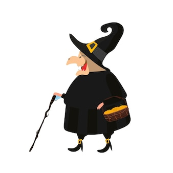 Witch in a black robe. witch in a white hat. good for a halloween-themed design. isolated. vector.