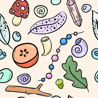Witch boho items colorful doodles seamless pattern