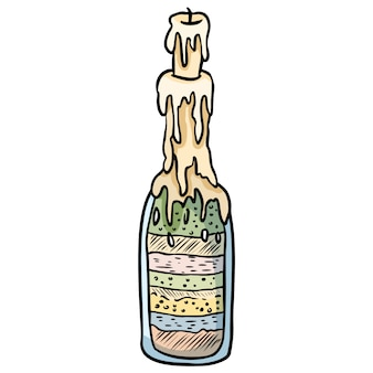 Witch bottle doodle sketch.