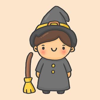 Witch boy halloween hand drawn cartoon style vector