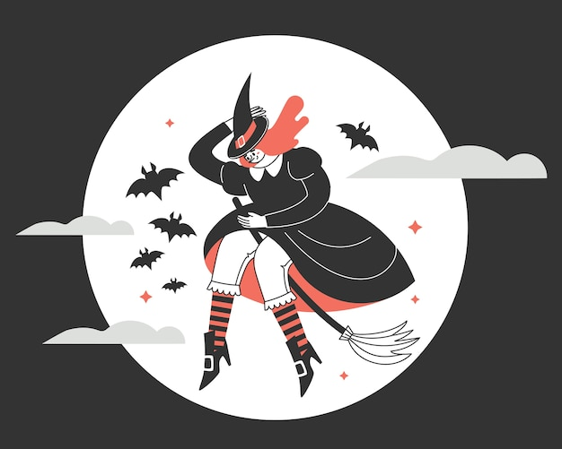 A witch on a broom against the full moon.