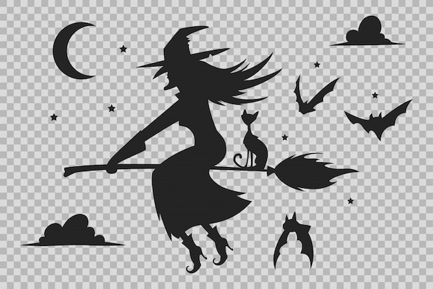 Witch on a broom, black cat and bats silhouette. halloween silhouettes isolated