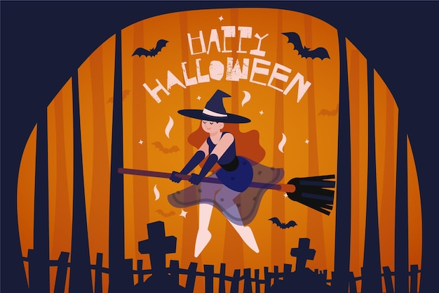 Witch on broom halloween background