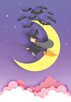 Witch on the broom paper art style with sky in the night for halloween vector illustration