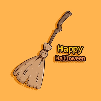 Witch broom with happy halloween text