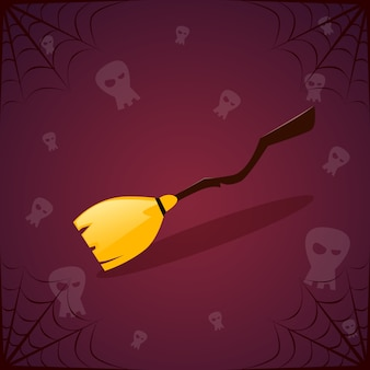 Witch broomstick and skulls. happy halloween decoration horror party