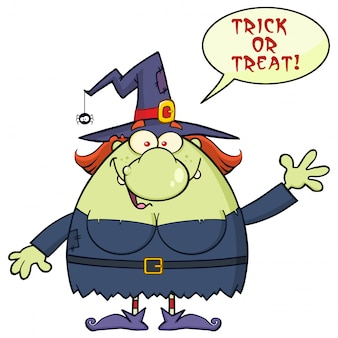 Witch cartoon mascot character waving with speech bubble