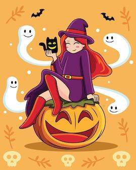オレンジ色の背景にかわいい表情で魔女漫画