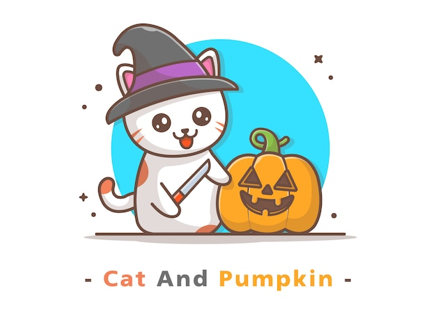 Witch cat carve pumpkin