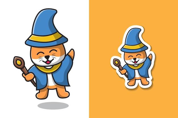 마술 지팡이 그림을 들고 마녀 고양이
