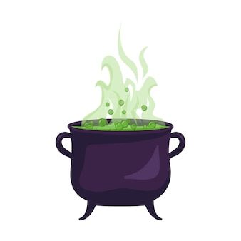 Witch cauldron of boiling green liquid. halloween party decoration