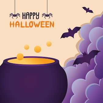 Witch cauldron pot and bats flying
