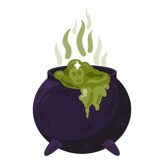 고립 된 버블링 녹색 액체와 마녀 가마솥입니다. 마법의 물약, 요술 기호입니다. 어두운 끓는 냄비. 전통적인 할로윈 요소 또는 아이콘입니다. 벡터 일러스트 레이 션