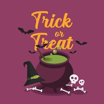 Котел ведьмы с пузырящимся зеленым зельем. поздравительная открытка вечеринки в честь хэллоуина. иллюстрация