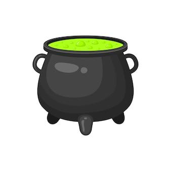 緑の液体と魔女の大釜魔法の泡立つポーションハロウィーンのデザイン要素
